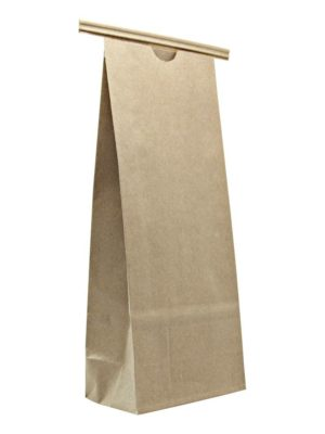 16 oz Compostable Paper Bag with Tin Tie Kraft - PBFY