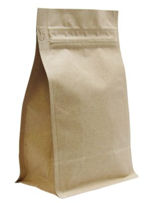 12 oz Block Bottom Side Gusseted Bag Kraft - PBFY