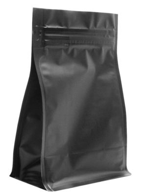 12 oz Block Bottom Side Gusseted Bag Matte Black - PBFY