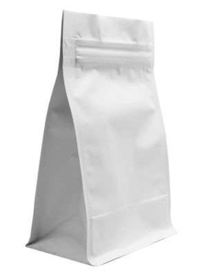 12 oz Block Bottom Side Gusseted Bag Matte White - PBFY