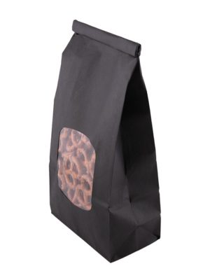 1 pound poly lined black tin tie food safe paper bag with window top